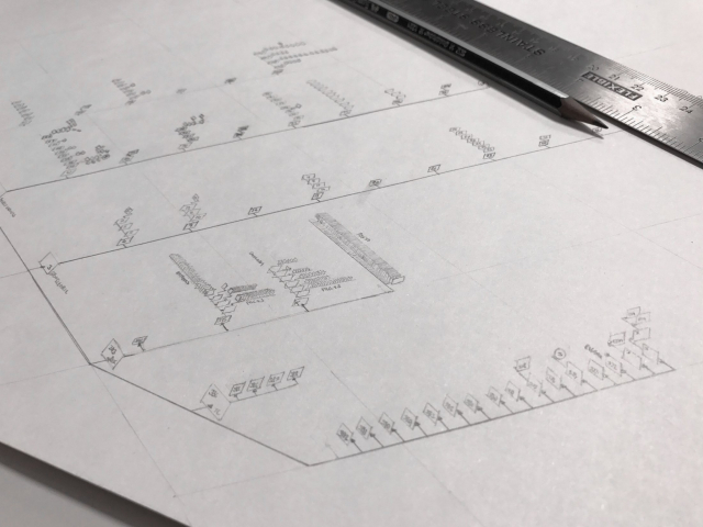 Pencil drawing of website sitemap with ruler