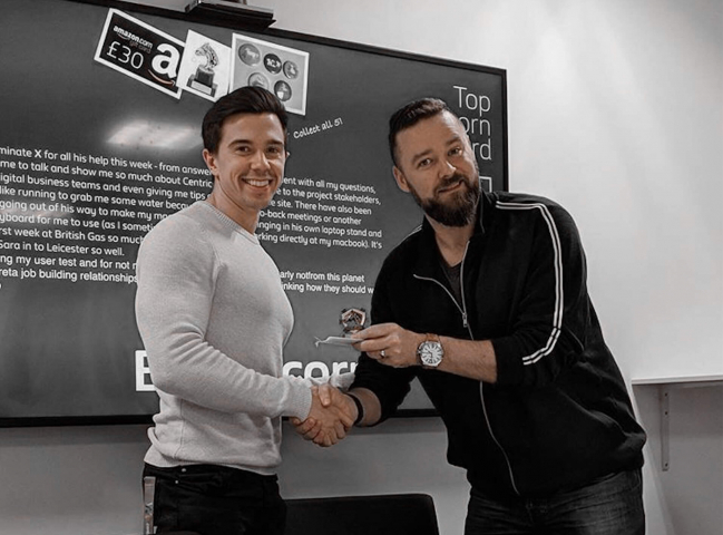 Receiving award from global head of design